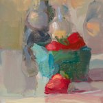 Christine Lafuente, Strawberries and Bottles, oil on board, 6 x 8 inches