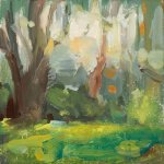 Christine Lafuente, Summer Trees, oil on mounted linen, 4 x 4 inches