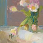 Christine Lafuente, Tulips and Sink, oil on boar, 8 x 6 inches