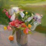 Christine Lafuente, White Irises and Mandarin Oranges, oil on linen, 12 x 12 inches