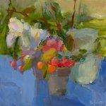 Christine Lafuente, White Irises on a Blue Cloth, oil on linen, 12 x 12 inches