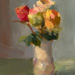 Christine Lafuente, Zuzus Roses, oil on mounted linen, 12 x 9 inches