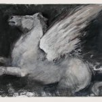 Jane Morris Pack, Pegasus, 2009, Egg tempera and shell gold on paper, 12 1/2 x 17 1/2 inches