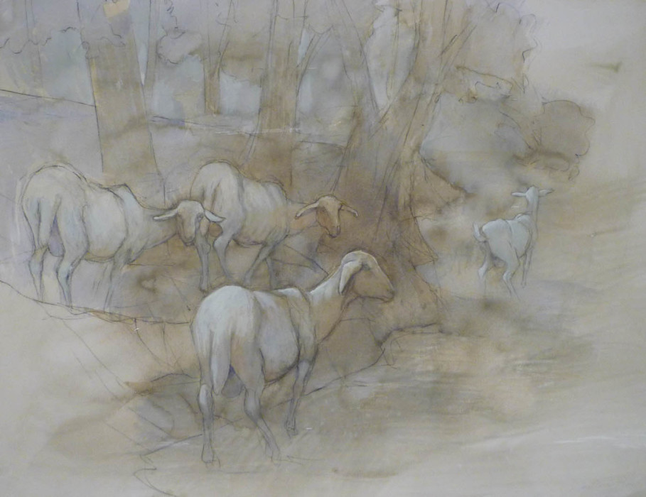 Jane Morris Pack, Goats, Oil on Paper, 19½ x 25½ inches