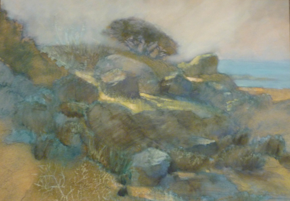 Jane Morris Pack, Landscape with Rocks & Tree, Oil on Paper, 15 x 22¾ inches