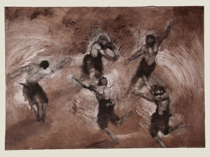 Jane Morris Pack, Dancing Satyrs, Egg Tempera and Shell Gold on Paper, 12½ x 17½ inches