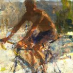 Jon Redmond, Man on a Bike, Oil on Mylar, 18 x 11 inches