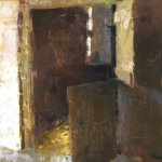 Jon Redmond, Open Stall, Oil on Mylar, 10 x 13 inches