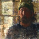 Jon Redmond, Whistling, Oil on Mylar, 10 x 10 inches