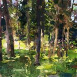 Jon Redmond, Woods C.C., Oil on Mylar, 10 x 10 inches