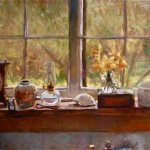 Michael Doyle, April Still Life, Oil on Masonite, 24 x 48 inches