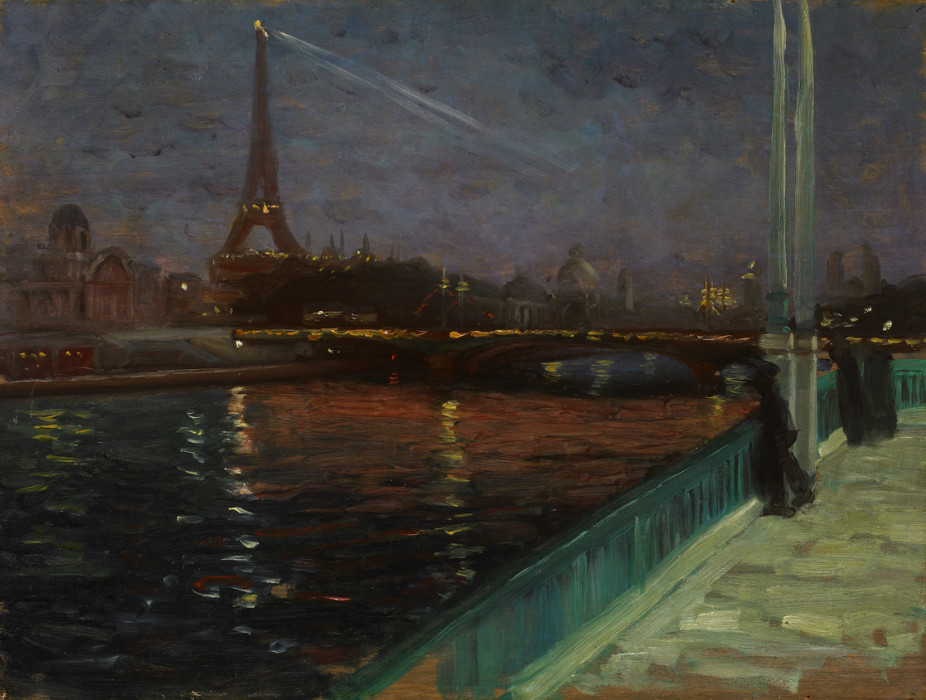 Alfred Maurer, Paris, Nocturne, circa 1900, Oil on Panel, 10¼ x 13¾ inches