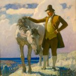 N.C. Wyeth, Sir Nat and the Horse, 1928, Oil on canvas, 40 x 32 inches