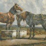 Attilio Pratella, Horses at the Trough, Oil on canvas, 27 x 35 3/8 inches