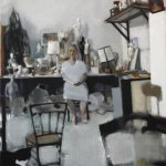 The Rosy Lamb, Long Winter, Hanna and Lilly in my Studio, Oil on Canvas, 46 x 35 inches