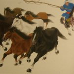 Ru-Lan Weng, Hearding Horses, 2005, Watercolor, 23 x 33 inches