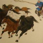 Ru-Lan Weng, Hearding Horses, 2005, Watercolor, 23 x 33 inches
