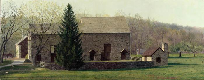 Timothy Barr, Burgess Lea Farm, Oil on Panel, 12 x 30 inches