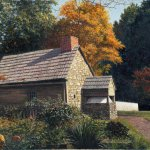 Timothy Barr, Cloister Garden - Fall, Oil on Panel, 16 x 20 inches