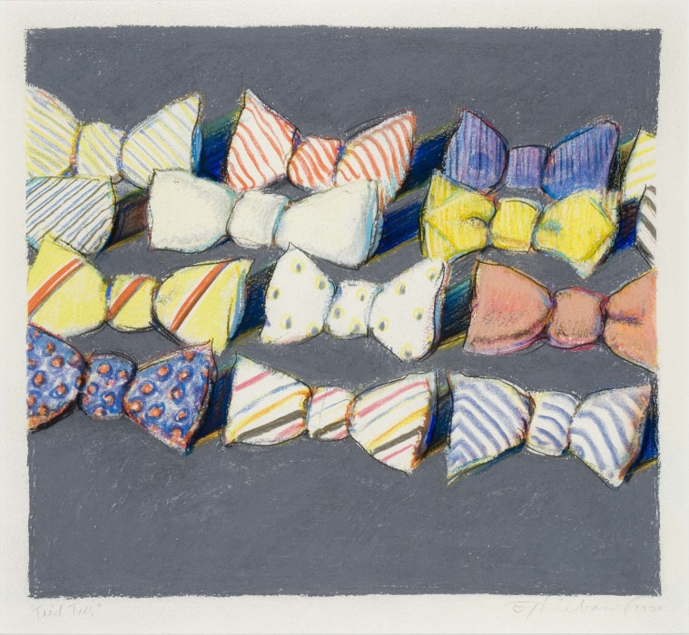 Wayne Thiebaud, Tied Ties, 1990, Pastel over lithograph, 12½ x 13¾ inches
