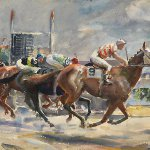 John Whorf, Approaching the Finish, 1926, Watercolor, 14 1/2 x 21 inches