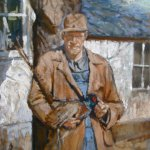 Michael Doyle, Willie and the Pheasant, Oil on panel, 13.5 x 17.5 inches