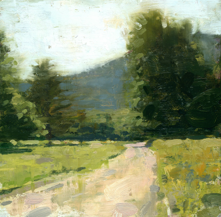 Jon Redmond, Mountain Road, oil on board, 10 x 10 inches