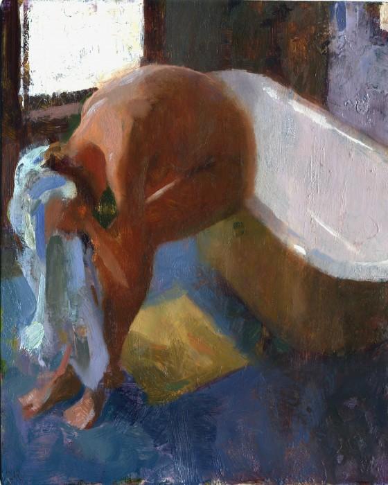 Jon Redmond, Nude Drying, oil on board, 10 x 10 inches