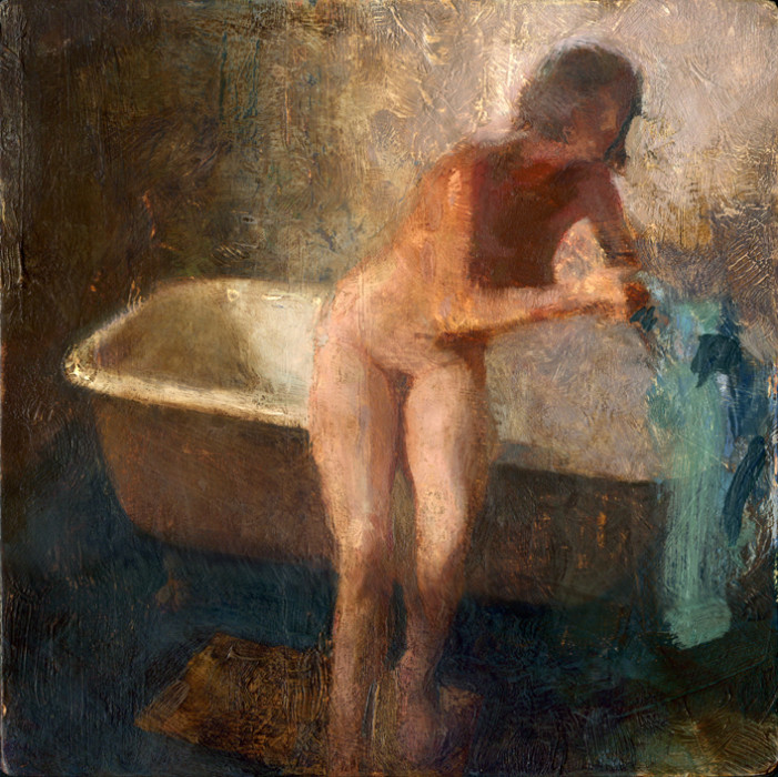 Jon Redmond, Nude Grabbing Towel, oil on board, 10 x 10 inches