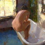 Jon Redmond, Nude in Tub, oil on board, 8 x 8 inches