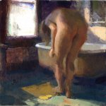 Jon Redmond, Nude with Mat, oil on board, 10 x 10 inches