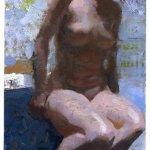 Jon Redmond, Nude on Stool, oil on board, 11 x 6 inches