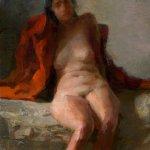 Jon Redmond, Nude Shedding Coat, oil on board, 10 x 10 inches