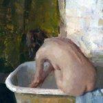 Jon Redmond, Nude Sitting in Tub, oil on Mylar, 13 3/4 x 9 3/4 inches