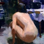 Jon Redmond, Nude Squating, oil on board, 8 x 12 inches