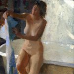 Jon Redmond, Nude with Towel, oil on board, 10 x 10 inches