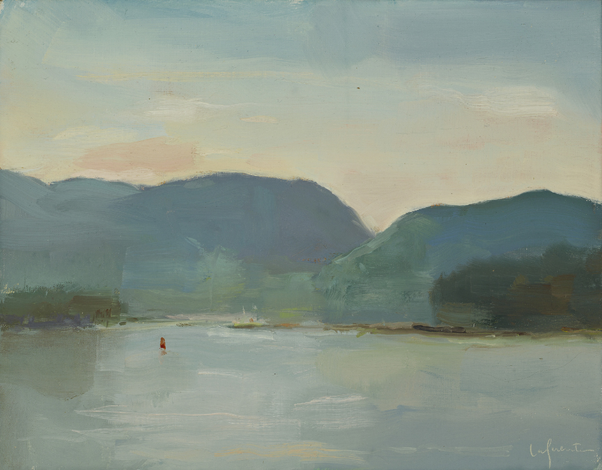 Christine Lafuente, Acadian Mountains from Islesford, oil on linen, 11 x 14 inches