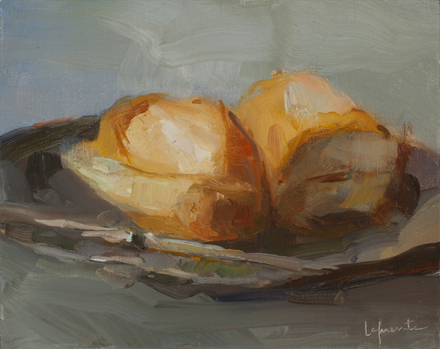 Christine Lafuente, Bread and Silver Knife, 2013, oil on mounted linen, 8 x 10 inches