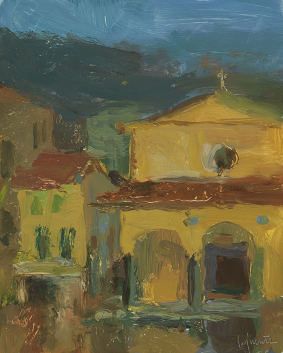 Christine Lafuente, Church Nocturne in San Giovanni Valdarno, 2012, oil on board, 10 x 8 inches