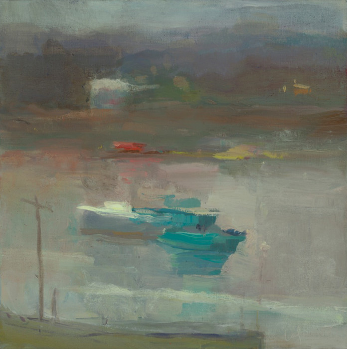 Christine Lafuente, Fishing Harbor at Dusk, 2012, oil on linen, 12 x 12 inches