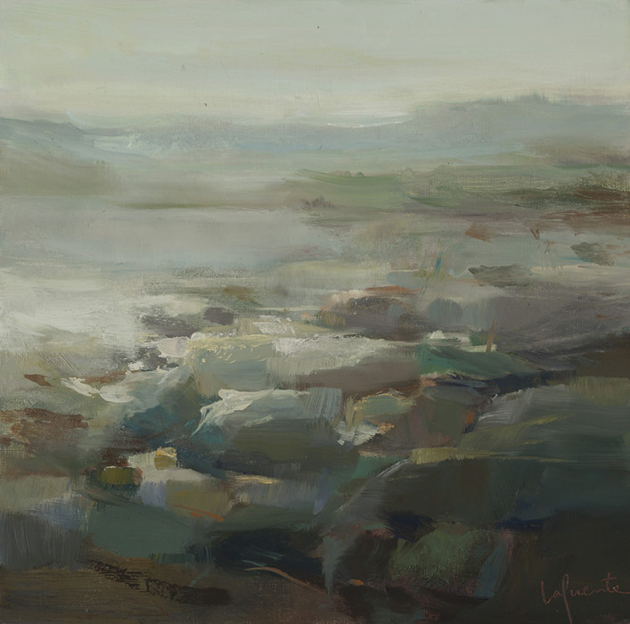 Christine Lafuente, Fog at Seawall, Late Afternoon, 2012, oil on linen, 12 x 12 inches