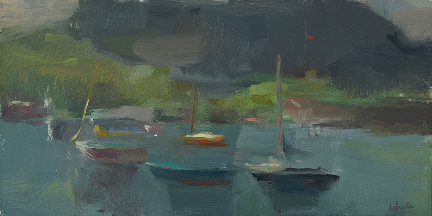 Christine Lafuente, Harbor Sailboats, Summer Afternoon, 2012, oil on linen, 10 x 20 inches