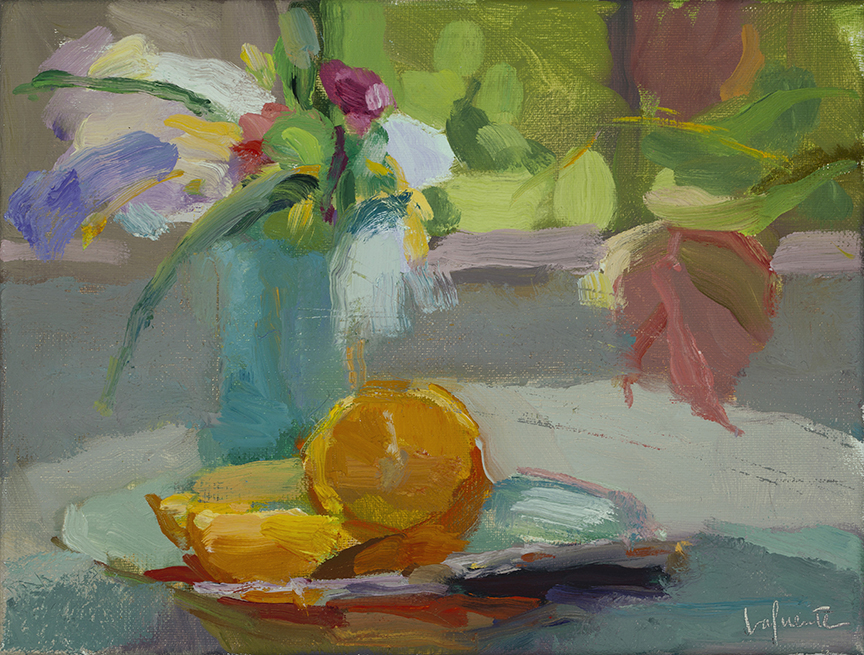 Christine Lafuente, Iris and Sliced Orange, oil on linen, 9 x 12 inches