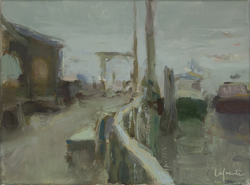 Christine Lafuente, Islesford Dock in Thick Fog, oil on linen, 9 x 12 inches
