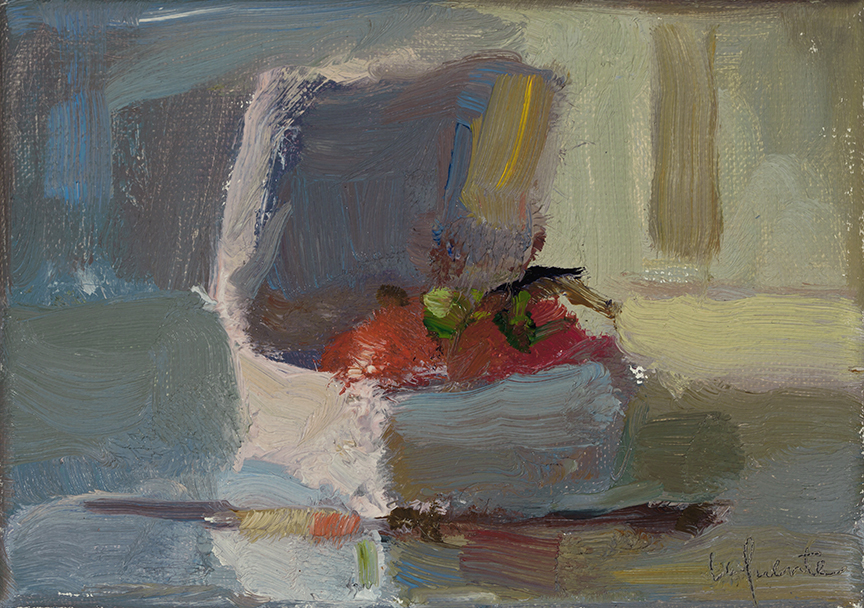 Christine Lafuente, Silver Knife and Vine Tomatoes, 2012, oil on linen, 5 x 7 inches