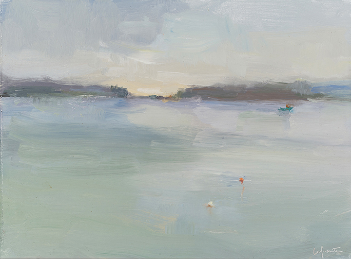 Christine Lafuente, Overcast Morning with Lobster Boat, oil on mounted linen, 9 x 12 inches