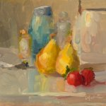 Christine Lafuente, Pears and Strawberries, oil on board, 6 x 6 inches