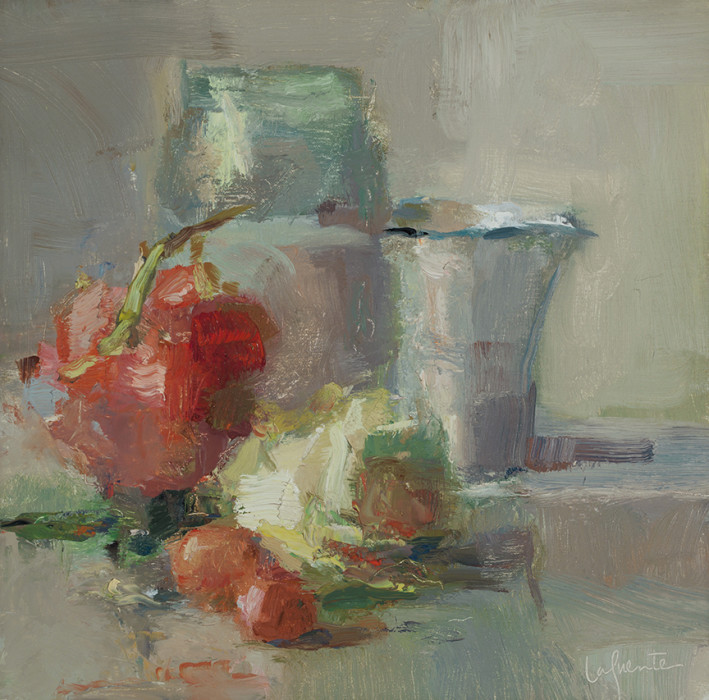 Christine Lafuente, Red Globe Grapes and Rose, 2012, oil on board, 10 x 10 inches