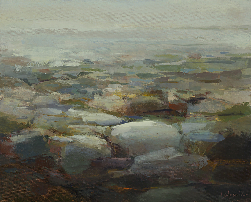 Christine Lafuente, Seawall at Low Tide, 2012, oil on linen, 16 x 20 inches
