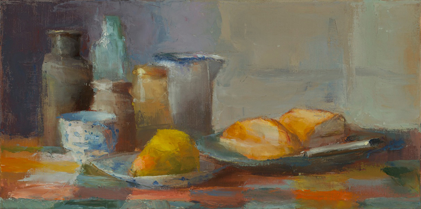 Christine Lafuente, Teacup, Pear, and Bread, 2013, oil on linen, 10 x 20 inches